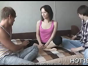 Luxurious longhaired chick stuffed apart from dick previous to her bf